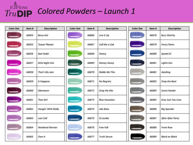 EzFlow TruDIP color powder shade chart