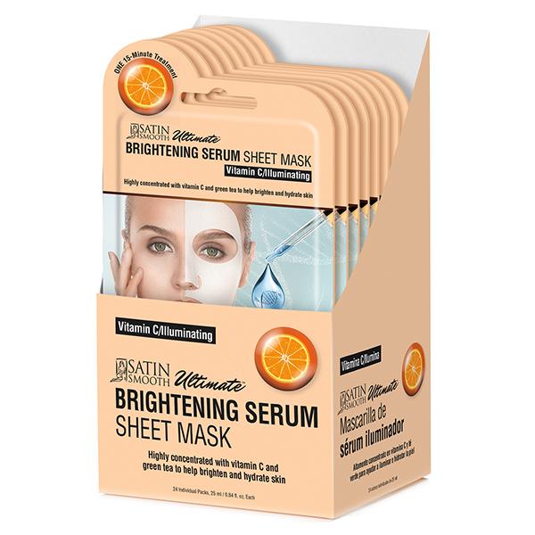 Satin Smooth Brightening Serum Sheet Mask, 24 Piece Gift Box