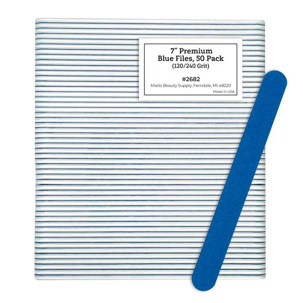"7"" Premium Blue Files, 50 Pack (120/240 Grit)"