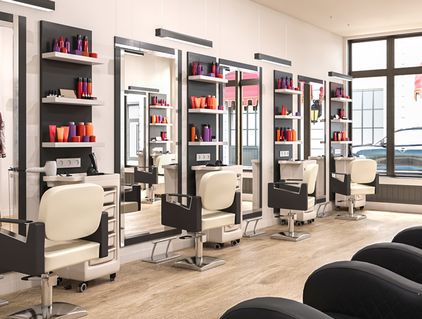 Product displays in a salon