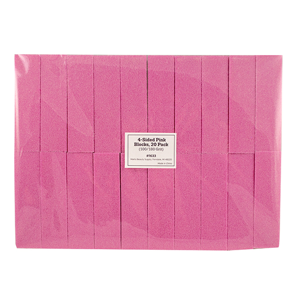4-Sided Pink Blocks, 20 Pack (100/180 Grit)