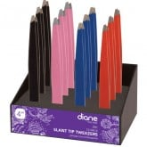 Diane Slant Tip Tweezer, 12 Piece Display