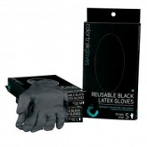 Colortrak Reusable Black Latex Gloves, 20 Pack