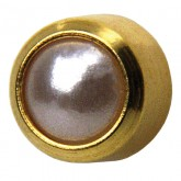 Studex Gold Plated Bezel Set Pearl